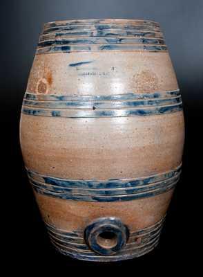Extremely Rare LEWIS & GARDINER / HUNTINGTON, L.I. Monumental Stoneware Keg-Form Cooler