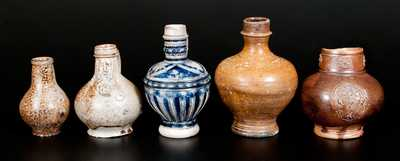 Lot of Five: Early Salt-Glazed German Stoneware Vessels, Raeren, Frechen, and Westerwald origins