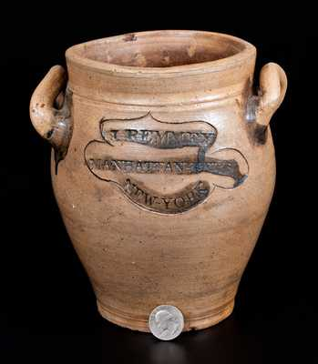Extremely Rare J. REMMEY / MANHATTAN-WELLS / NEW-YORK Half-Gallon Stoneware Jar w/ Incised Decoration, c1810