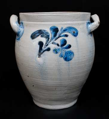 Exceedingly Rare DAVID MORGAN (Manhattan) Stoneware Jar w/ Bold Incised Floral Decoration, c1800