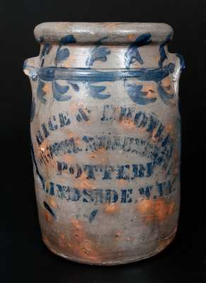 RICE & BROYLES / (?) MONUMENT / POTTERY / LINDSIDE, W. VA. Stoneware Jar
