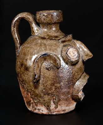 Extremely Rare and Important Stoneware Face Jug, Edgefield, SC, circa 1860
