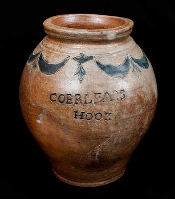 COERLEARS HOOK / N. YORK, Thomas Commeraw, Manhattan, New York Stoneware Jar w/ Impressed Designs