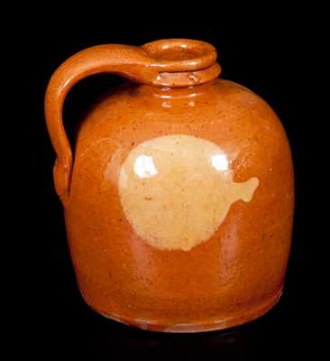 Small-Sized Galena, Illinois, Redware Jug w/ Yellow Slip Circle Design