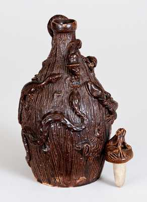 Small-Sized 1886 Snake Jug / Temperance Jug, probably Boonville, Missouri, Anna Pottery-Related