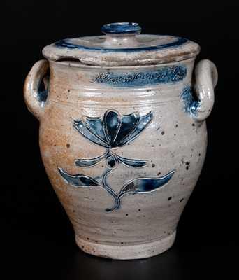 Very Important Diminutive Manhattan Stoneware Lidded Jar Inscribed Rachel Van Riper / November 10, 1800
