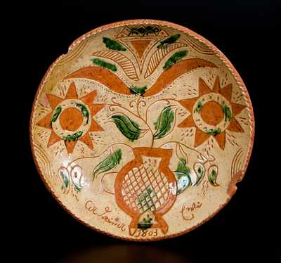Important Andrew Uhler 1803 Sgraffito Redware Plate w/ Exuberant Decoration and Rare Impressed Maker s Mark