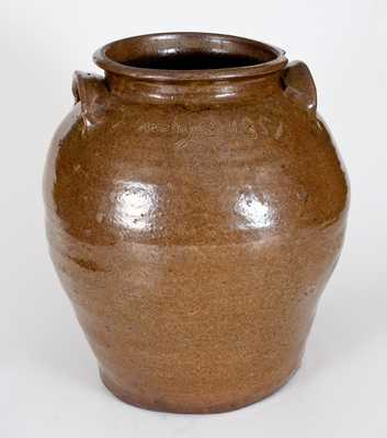 Attrib. Dave, Lewis Miles' Stoney Bluff Manufactory, Edgefield, SC, Seven-Gallon Alkaline-Glazed Stoneware Jar, Incised