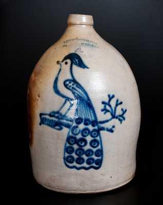 COWDEN & WILCOX / HARRISBURG, PA Four-Gallon Stoneware Peacock Jug