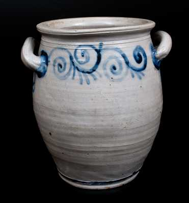 Outstanding Abraham Mead, Greenwich, CT Stoneware Jar w/ Cobalt Watchspring Decoration, c1790