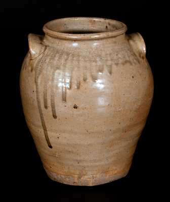 Fine Pottersville, Edgefield District, SC Alkaline-Glazed Stoneware Jar, Stamped
