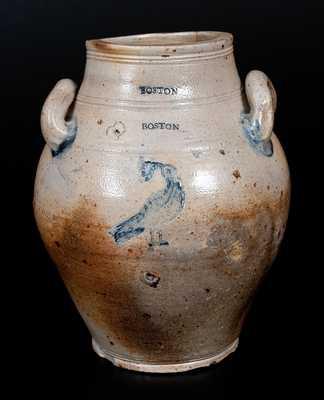 Rare BOSTON Stoneware Jar w/ Impressed Bird Eating Grapes Decoration, late 18th century