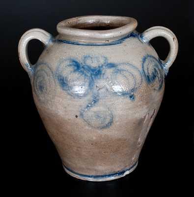 Kemple, Ringoes, New Jersey Stoneware Jar w/ Pomegranate Decoration, c1746-1795