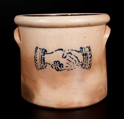 Stoneware Crock w/ Stenciled Cobalt Shaking Hands Decoration, att. Somerset Potters Works, Somerset, MA