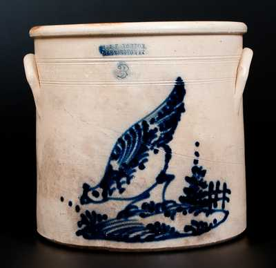 Scarce J. & E. NORTON. / BENNINGTON VT Stoneware Crock w/ Chicken Pecking Corn and Fence