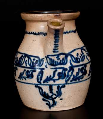 Outstanding Stoneware Batter Jug w/ Elaborate Slip-Trailed Decoration, att. Jacob Caire, Poughkeepsie, NY