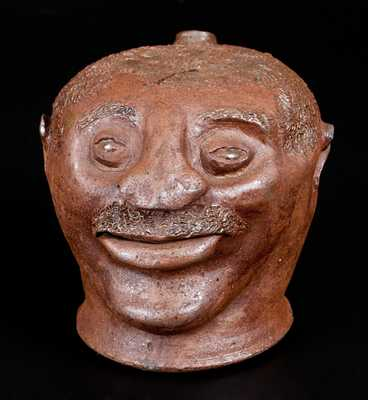 Exceptional Stoneware Face Jug, probably Barrow County, GA, circa 1880