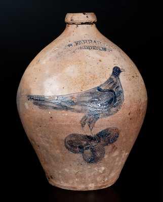 W.H. FARRAR / GEDDES, N.Y. Stoneware Jug w/ Incised Bird