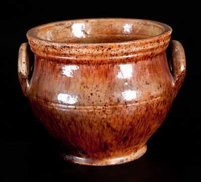 Shenandoah Valley Redware Sugar Bowl, attrib. Anthony Baecher, Winchester, VA, circa 1880