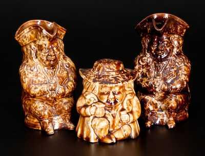 Three Rockingham-Glazed Toby Articles, Lyman, Fenton & Co., Bennington, VT, c1849-58