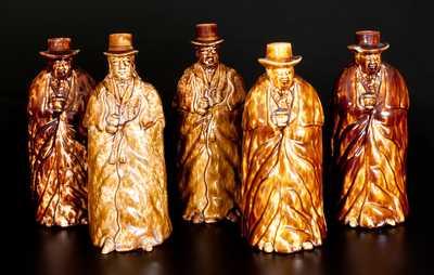 Five Rockingham-Glazed Coachman Bottles, Lyman, Fenton & Co., Bennington, VT, circa 1849-58