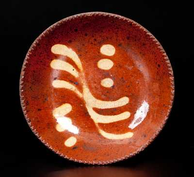 Small-Sized American Redware Plate w/ Slip Decoration, circa 1840