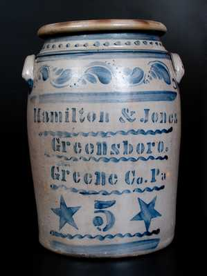 HAMILTON & JONES / GREENSBORO / Greene Co. Pa Stoneware Jar w/ Stars and Profuse Decoration