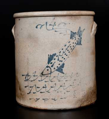 Unusual Ohio Stoneware Crock w/ Swimming Fish Decoration