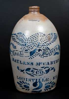 Fine BAYLESS McCARTHY & CO. / LOUISVILLE, KY Stoneware Jug, Marked EAGLE POTTERY