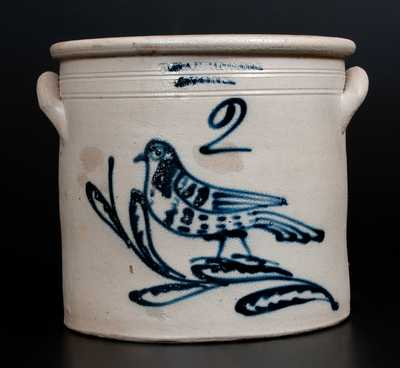 Unusual T. HARRINGTON / LYONS Stoneware Crock w/ Slip-Trailed Bird Decoration
