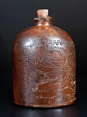 Very Rare Grand Chain Pottery (Illinois) Stoneware Jug w/ Incised Bird Scene and Presentation Inscription, 1892