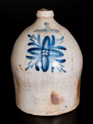 2 Gal. COWDEN & WILCOX / HARRISBURG, PA Stoneware Jug with Unusual Decoration