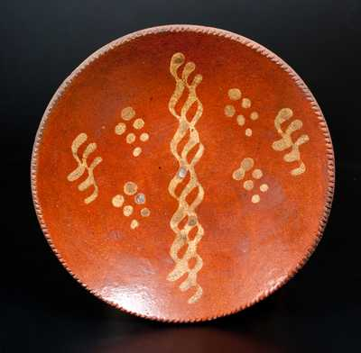 Redware Plate with Yellow Slip Decoration