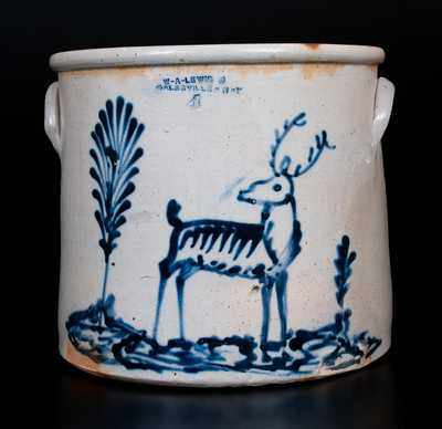 Extremely Rare W. A. LEWIS / GALESVILLE, NY Stoneware Crock with Deer Decoration