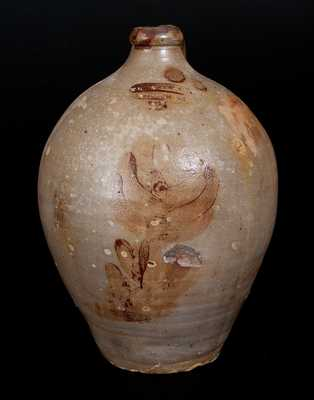 Rare T. CRAFTS & CO. / WHATELY, MA Stoneware Jug with Ochre Floral Decoration