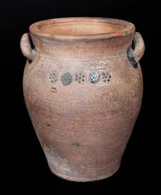 Rare Stoneware Jar w/ Relief Rosette Designs, possibly J. S. Henne, Berks County, PA, circa 1840