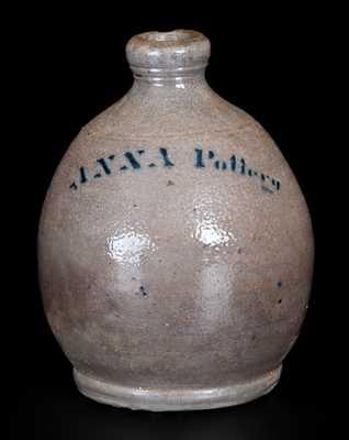 Rare Stenciled Anna Pottery Quart-Sized Stoneware Jug