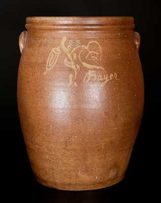 Exceptional Joseph Bayer (Washington, Missouri) 1878 10 Gal. Stoneware Jar Hand-Signed