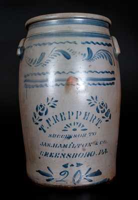 20 Gal. T. F. REPPERT / SUCCESSOR TO JAS. HAMILTON & CO. / GREENSBORO, PA Stoneware Jar