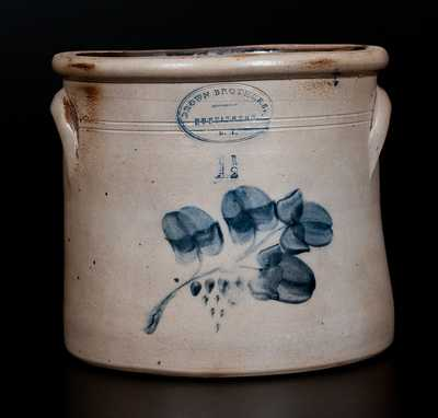 BROWN BROTHERS / HUNTINGTON / L.I. Stoneware Crock w/ Floral Decoration