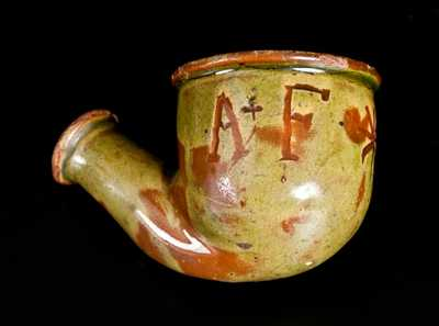 Unusual Glazed Redware Pipe Bowl Inscribed