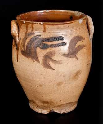 Rare D. WILLIAMS / POUGHKEEPSIE Stoneware Jar, Durrell Williams, 1815-1820
