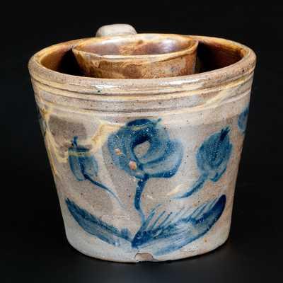 Very Rare Stoneware Shaving Mug with Cobalt Floral Decoration