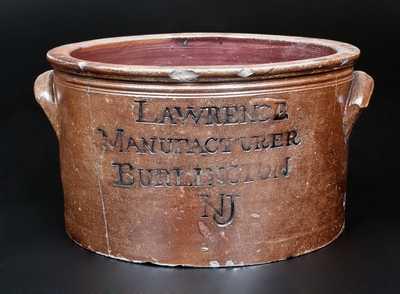 Extremely Rare  LAWRENCE / MANUFACTURER / BURLINGTON / NJ Stoneware Cake Crock, c1815
