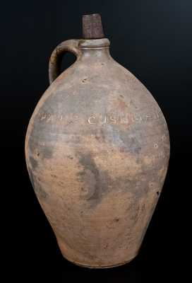 Rare PAUL:CUSHMAN Ovoid Stoneware Jug, Albany, c1815