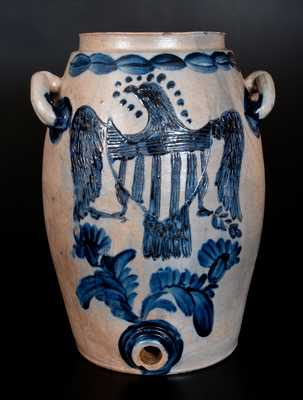 Exceedingly Important Seven-Gallon Stoneware Water Cooler w/ Incised Federal Eagle Decoration, attrib. Henry Remmey, Sr. or Jr., Baltimore, MD, circa 1812-29