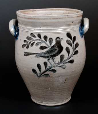 New York City Stoneware Jar w/ Elaborate Incised Bird Designs, c1790's