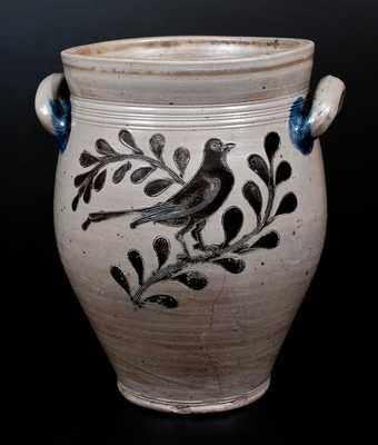 Rare Three-Gallon Manhattan Stoneware Jar w/ Incised Bird Decoration, c1795