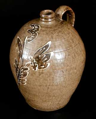 Exceptional Edgefield, SC Stoneware Jug w/ Two-Colored Decoration, attrib. C. Rhodes, Shaw s Creek