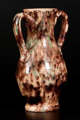 Exceptional BAECHER / WINCHESTER Polychrome Redware Handled Vase